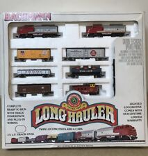 Used Bachmann N scale Long Hauler Train Set Twin Santa Fe Locomotives & 6 Cars