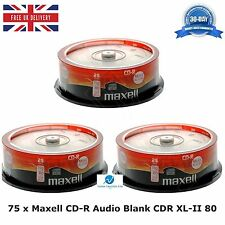 75 Pack Maxell CD-R CDR XL-II Audio Music 80 MINS Recordable Blank Discs CD's HQ