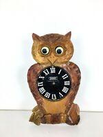 Vtg Tezuka Poppo Occupied Japan Wood Owl Moving Eyes Mechanical Cuckoo Clock