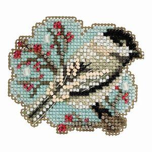 Little Chickadee Cross Stitch Ornament Kit Mill Hill 2018 Winter Holiday