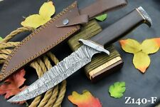 Damascus Steel Bowie Ranger Hunting Knife Handmade | Stacked Walnut Handle