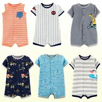 NWT New Carter's Baby Boys One Piece Print or Striped Rompers Shortalls