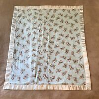 "Vintage Baby Blanket Bunny Rabbits Eating Carrots Blue w Satin Trim 36"" x 42"""