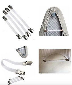 4 x IRONING BOARD COVER CLIPS Fastening Elastic Brace Straps Laundry Home Grips