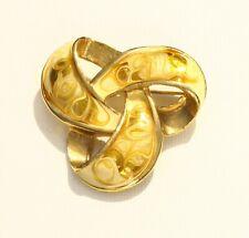 BROOCH gold tone metal yellow enamel