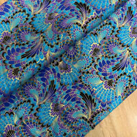 Japanese Peacock Phoenix Tail Fabric Bronzing Cotton DIY Quilting Sewing Clothes