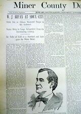 <Rare 1896 HOWARD South Dakota newspaper WILLIAM JENNINGS BRYAN RALLY Sioux City
