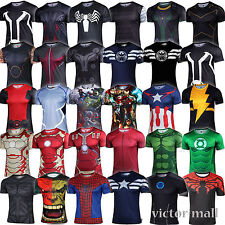 Men Marvel Superhero Compression Sport T-shirt Tights Tee Tops Cosplay Costume B