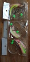 3X YELLOW WHITING SNAPPER FLASHER 2XHOOK FISHING RIGS! 60lb MONO 5/0 CIRCLE HOOK