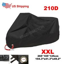 XXL All Black Motorcycle Cover For Harley Dyna Fat Street Bob Wide Super Glide