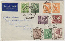 AUSTRALIA 1953: correct rate cover to USA with mixed franking~ROCK FLAT postmark