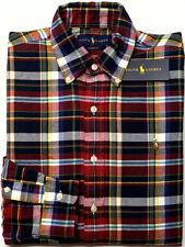 NEW $89 Polo Ralph Lauren Oxford Long Sleeve Shirt Mens Red Navy Yellow Plaid