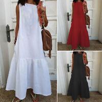 ZANZEA Women Summer Long Maxi Dress Sleeveless Shirt Dress Pleated Tank Dress