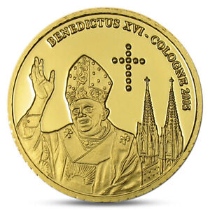 CONGO 20 FRANCS GOLD COIN POPE PAPA BENEDICT XVI COLOGNE GERMANY 2005