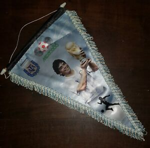 Diego Maradona FIFA WORLD CUP MEXICO 1986 vintage PENNANT  ARGENTINA CHAMPION