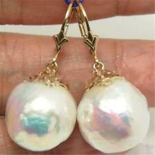 13-15MM BAROQUE White PEARL Earrings 18K hook AAA Fine classic hand-made TwoPin