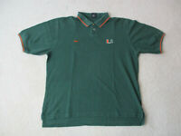 Nike Miami Hurricanes Polo Shirt Adult Extra Large Green Orange Cotton Football
