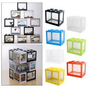 Mini Aquarium Fish Tank Building Blocks Small Pet Spider Reptile Box Home Decor