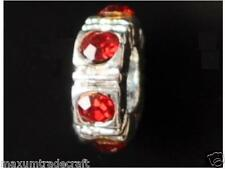 5pcs red rhinestone ring spacer beads fit European snake chain