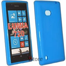 Cover Custodia Per Nokia Lumia 720 Silicone Gel TPU Blu + Pellicola Display
