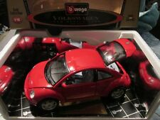 V W new beetle red 1998 98 volkswagon detailed  rare unique burago ITALY 1/18