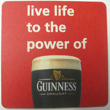 GUINNESS LIVE LIFE TO POWER, RED Beer Coaster, IRELAND