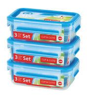 Emsa Clip & Close 3D Set of 3 0,55l Storage Jar Freshness Box Lunch