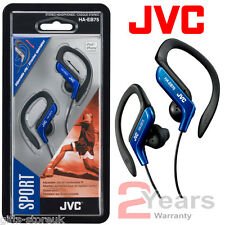 BLUE JVC HA-EB75A SPORTS ADJUSTABLE EAR CLIP EARPHONES HEADPHONES MP3 IPOD - NEW