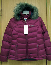 New Columbia Glam-Her Hooded Down Jacket Womens M Cranberry