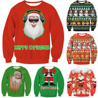 Cute UGLY XMAS CHRISTMAS SWEATER Vacation Santa Elf Funny Women Men Sweatshirt