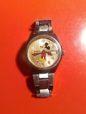 Vintage Elgin Silver ToneDate Mickey Mouse Character Watch used working Swiss