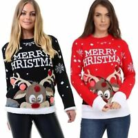 Ladies 3D Knitted Multi Colour Pom Pom Merry Christmas Novelty Reindeer Jumper