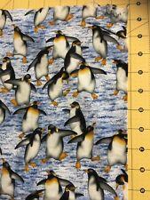 "1/4 yd 9""x44"" Penguin Hoffman Naturescapes Birds cotton Fabric Diy Mask"