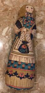 "Vintage  Design Handmade 20"" Doll Pillow Colonial Woman Girl Shelf Accent Decor"