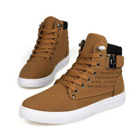 Mens Casual Sport Leather Shoes Canvas Lace up High Top Sneakers Fashion Comfy