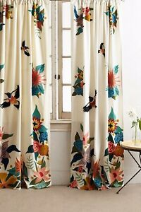 NEW ANTHROPOLOGIE  EMBROIDERED SOARING STARLINGS SINGLE CURTAIN PANEL 50 X 108