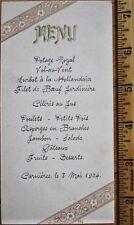Menu: 1904 French - Carnieres - Gold & Pink Designs - Filet de Boeuf Jardiniere