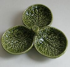 Portugal Relish Dish Green Leaf Tri Bowl Pottery 3 Part Sauce Embossed