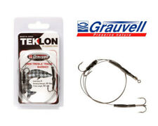 Grauvell Teklon Pike Fishing Twin Treble Trace Semi Barbed