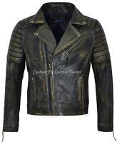 Mens Classic Racing Biker Jacket Smart Fit Black Rust Beige Vintage Jacket 5333