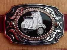 Nuevo Motor Artesanal grandes Vespa Scooter Hebilla de cinturón de plata/Negro Metal Mods