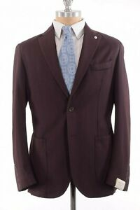 L.B.M Tailored NWT Soft Sport Coat Size 40R In Solid Burgundy Wool $995