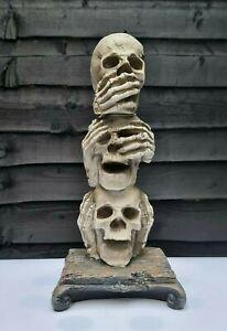 Halloween Decoration 3 Wise Skulls Tealight Holder Spooky Ornament Size 31x14cm