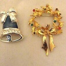 Lot of 2 Christmas Brooches Pins Wreath /colored stones Silver Bell blue stone