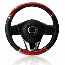Zone Tech Wood Grain Steering - Wheel Cover Car Truck Van SUV Black PU Leather