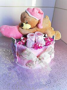 ♥ Schlafbärchen mit Kissen  ♥ Pampers Windeltorte Geschenk Geburt Baby Mädchen