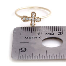 1/10 ctw G/SI1 Round Diamonds Cross Ring 1mm Shank Joint in Real 14k Yellow Gold