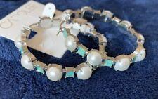 """Carolee Large Silver Pearl & Moonstone Hoop Earrings 2"""" Retails $60"""