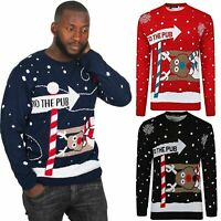 Ladies Mens 'to The Pub' Christmas Warm Knitted Novelty Jumper Size Small to 2XL