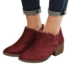 Women's Winter Warm Martin Boots Low Heel Ankle Boots Short Slip On Boots Shoes